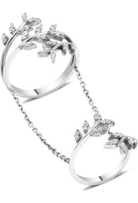 Altınsepeti Gümüş İkili Yaprak Yüzük G70Yz 16