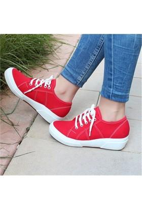 Bambini Bambus Kırmızı Kot Düz Kalın Taban Kadın Spor Ayakkabı