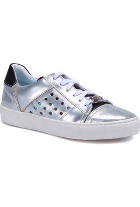 Butigo 2886/03 Gümüş Kadın Deri Sneaker Ayakkabı