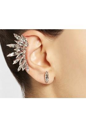 Hane14 Treasure Hunt Kristal Taşlı Ear Cuff Küpe Gold- Sağ Kulak