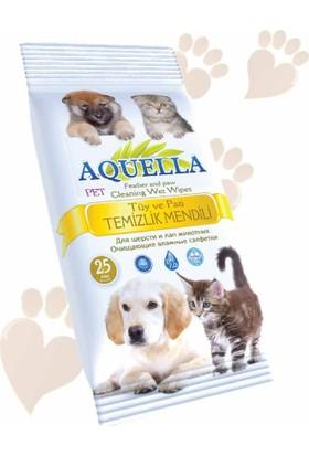 Aquella Tüy Ve Pati Temizleme Mendili - Kedi Ve Köpekler İçin - 5'li Paket 25 x 5 125 Adet