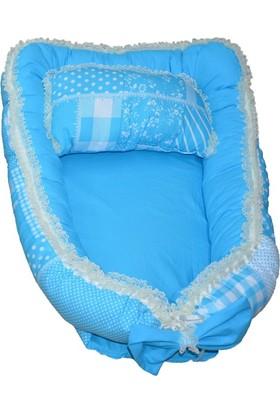 Baskaya Bebek Baby Nest Uyku Yatağı Ve Yastığı 100% Pamuk Mavi