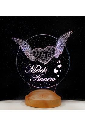 Melek Annem Kanatlı Kalpler 3 Boyutlu Lamba