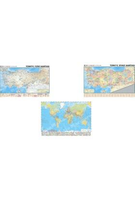 Mep Harita Dünya Siyasi Haritası + Türkiye Siyasi Ve Fiziki Haritası Çift Taraflı 2'li Set Çitalı Askılı 70 x 100 Cm
