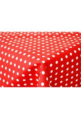 Baskaya Masa Örtüsü Kırmızı Puanlı Koton