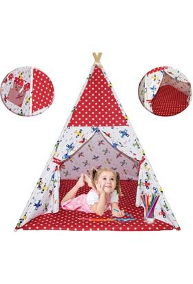 Hupim Ahşap Çocuk Oyun Ve Uyku Çadırı Minderli