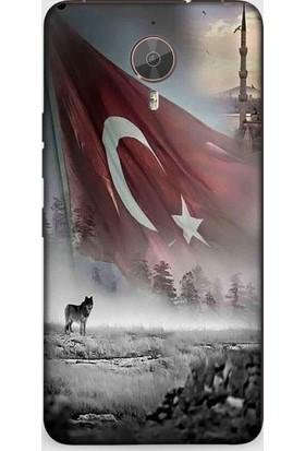 Dynamics General Mobile Gm5 Plus Kılıf Kurt Ve Türk Bayrağı Desenli Kılıf