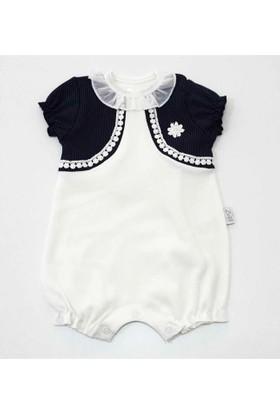 Babyzuff Puanlı Bolereolu Papatyalı Kız Bebek Kısa Tulum