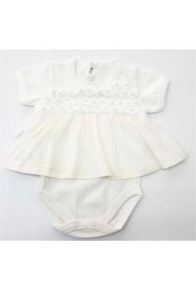 Babyzuff Papatya Nakışlı Kız Bebek Badili Elbise