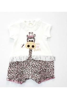 Babyzuff Leopar Desenli Kız Bebek Tulumu Pembe