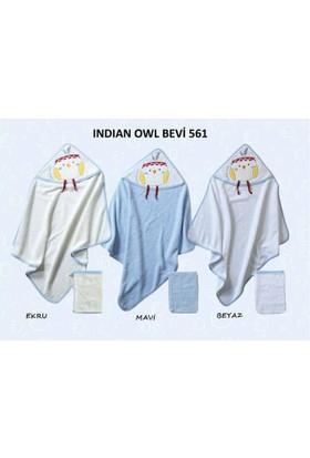 Bebekevi Bebek Indian Owl Dokuma Kapşonlu Havlu 2 li Set Mavi