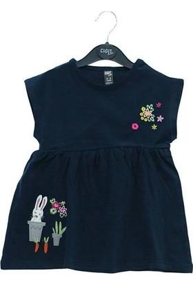 Cıgıt Kids Roba Çiçek Eteği Tavşan Nakışlı Kız Çocuk Tunik Lacivert