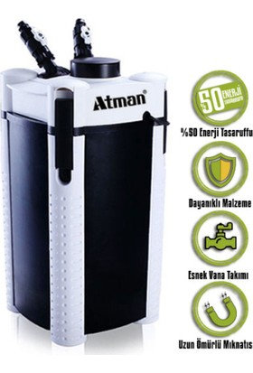 Atman 3336S Pompalı Akvaryum Dış Filtre 760 Lt/Saat