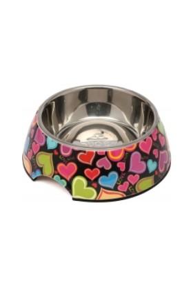Super Design Melamin Çelik Kedi Köpek Mama Kabı Small Renkli Kalp Desen