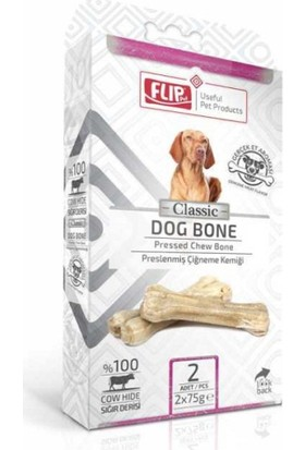 Flip Beyaz Press Köpek Çiğneme Kemiği 75 Gr 2 Li Paket