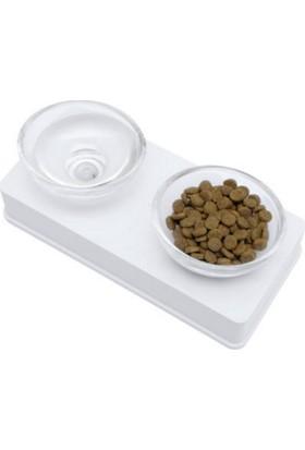 Hagen Catit Cam Kaseli Kedi Köpek Mama Ve Su Kabı 200 Ml X 2 Beyaz