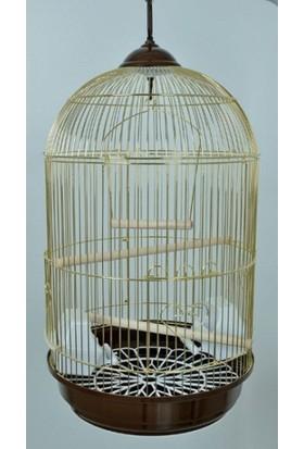 Silindir Pirinç Kuş Kafesi 34 Cm X 57 Cm