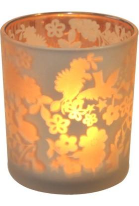 Cam Mumluk Çiçek Desenli