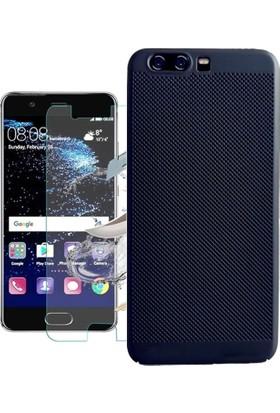 KılıfShop Huawei P10 Plus Fileli Sert Silikon Kılıf + Ekran Koruyucu