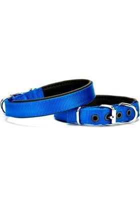 Doggie Dokuma Softlu Sade Boyun Tasması Mavi 2,0 X 45 cm