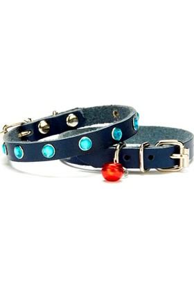 Doggie Taşlı Kedi Tasması Mavi 1,0 X 25 cm