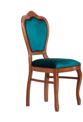 3A Mobilya Osmanlı Turkuazı Oymalı Sandalye - Turkuaz