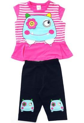 Minice Kids Kurbağacık Nakışlı Kaprili Kız Bebek Takımı Fuşya