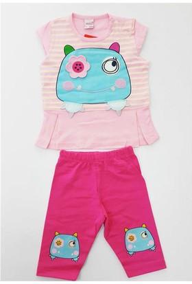 Minice Kids Kurbağacık Nakışlı Kaprili Kız Bebek Takımı Pembe
