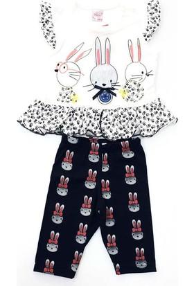 Minice Kids Tavşancıklar Nakışlı Kaprili Kız Bebek Takımı Beyaz