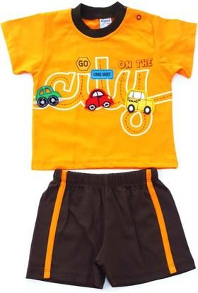 Minice Kids Araba Nakışlı Şortlu Erkek Bebek Takımı