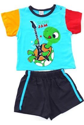 Minice Kids Gitarist Kamplumbağa Baskılı Şortlu Erkek Bebek Takımı Mavi