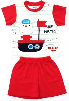 Minice Kids Gemi Nakışlı Şortlu Erkek Bebek Takımı Kırmızı