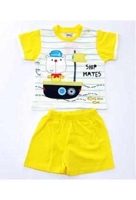Minice Kids Gemi Nakışlı Şortlu Erkek Bebek Takımı Sarı