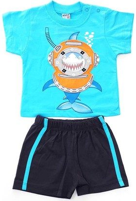 Minice Kids Balık Adam Nakışlı Şortlu Erkek Bebek Takımı Mavi