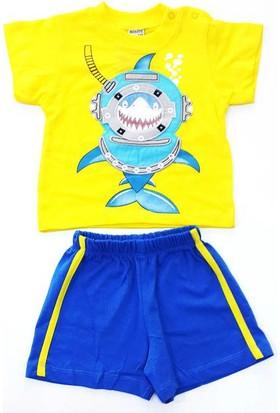 Minice Kids Balık Adam Nakışlı Şortlu Erkek Bebek Takımı Sarı