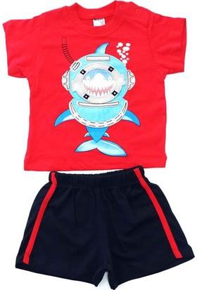 Minice Kids Balık Adam Nakışlı Şortlu Erkek Bebek Takımı Kırmızı