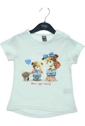 Cıgıt Kids Fiyonklu İki Ayıcık Kız Bebek Kısa Kol Tişört