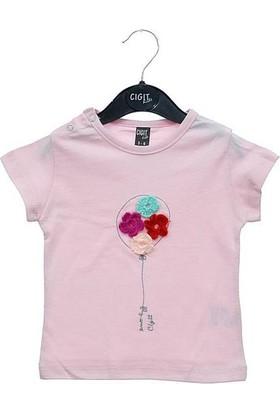 Cıgıt Kids Orgu Gul Balon Kız Bebek Kısa Kol Tişörtü Pembe