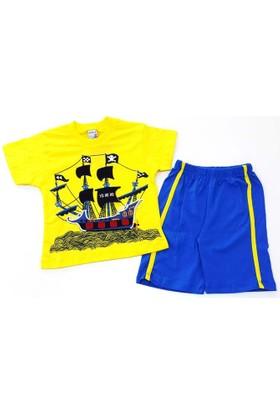 Minice Kids Korsan Gemi Nakışlı Erkek Çocuk Takımı Sarı