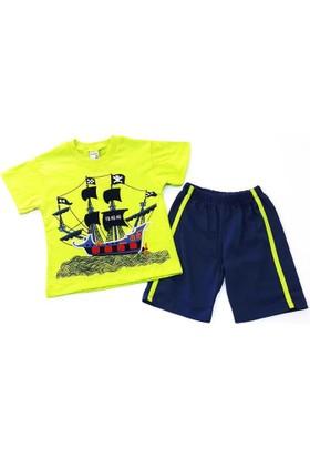 Minice Kids Korsan Gemi Nakışlı Erkek Çocuk Takımı Yeşil