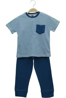 Cıgıt Kids Çizgili Cepli Kısa Kol Erkek Çocuk Pijama Takımı İndigo Mavi