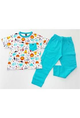 Cıgıt Kids Hayvancık Desenli Kısa Kol Erkek Çocuk Pijama Takımı