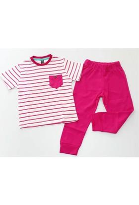 Cıgıt Kids Çizgili Cepli Kısa Kol Kız Çocuk Pijama Takımı Fuşya