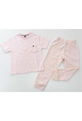 Cıgıt Kids Çizgili Cepli Kısa Kol Kız Çocuk Pijama Takımı Pembe