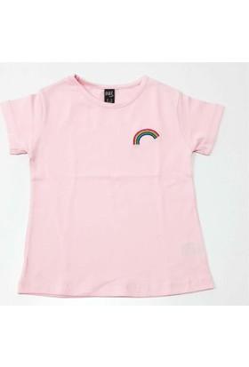 Cıgıt Kids Gökkuşağı Nakışlı Kısa Kol Kız Çocuk Tişörtü Pembe