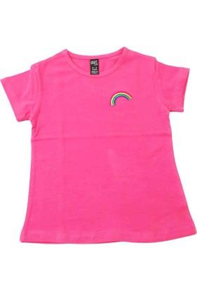 Cıgıt Kids Gökkuşağı Nakışlı Kısa Kol Kız Çocuk Tişörtü Açık Nar
