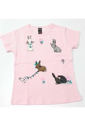 Cıgıt Kids Tavşan Çiçek Nakışlı Kısa Kol Çocuk Tişörtü Pembe