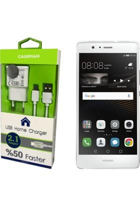 Case Man Huawei P9 Şarj Cihazı Ev Tipi Adaptör + Data Kablosu Hızlı Şarj Özellikli