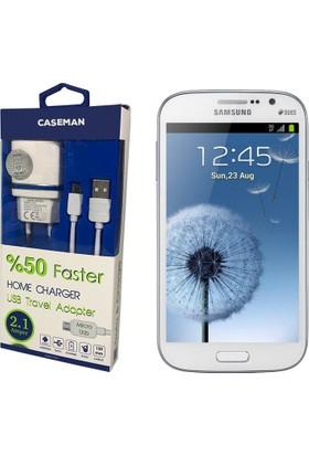 Case Man Samsung Grand Şarj Cihazı Seyahat Tipi Adaptör + Data Kablosu Hızlı Şarj Özellikli