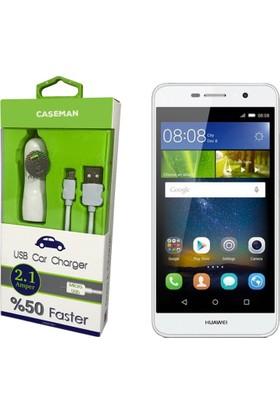 Case Man Huawei Y6 Pro Araç Şarj Cihazı Adaptör + Data Kablosu Hızlı Şarj Özellikli